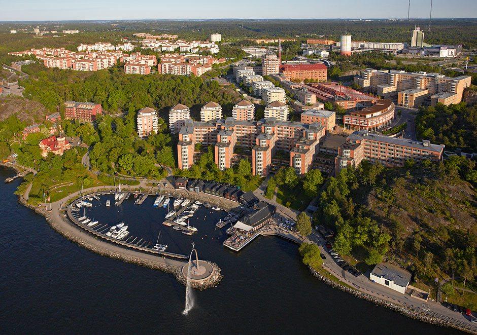 Flygbild över Nacka Strand – Partner till Nacka Företagarträff