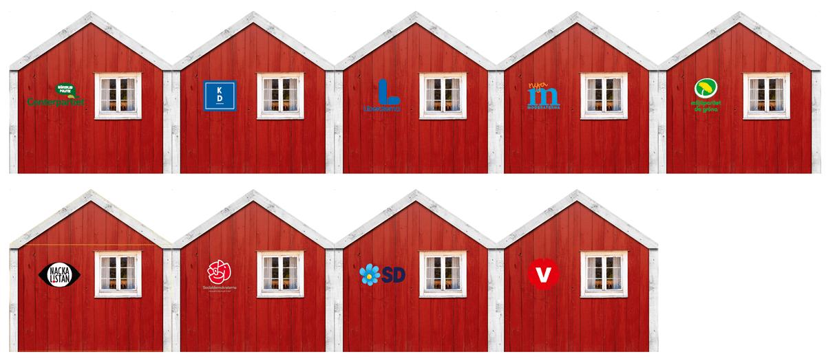 Politikertorget –Stugor med partiernas loggor