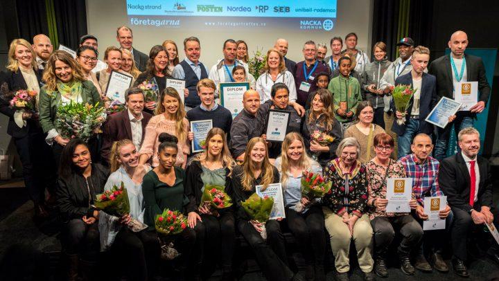 Nacka Företagarträff 2018 – Vinnarna samlade på bild